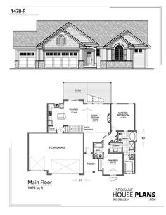 1478-R-plan New House Plans, House Floor Plans, Best Home Plans, Dream Properties, Bungalow House Design, Log Cabin Homes, House Blueprints, Mediterranean Homes, Tuscan Style