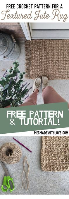 Free Crochet Pattern for a Textured Jute Rug Doormat - Megmade with Love