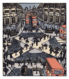 """X - Crossing"" from ""London A-Z"" Complete Boxed Set linocuts by Tobias Till, 2012. http://www.tobias-till.co.uk/. Tags: Linocut, Cut, Print, Linoleum, Lino, Carving, Block, Woodcut, Helen Elstone, Buildings, Architecture, Piccadilly Circus, People, Vehicles."