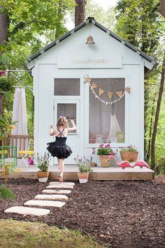 You might recognize this wonderful backyard playhouse from Joni Lay of Lay Baby Lay. What's new is the addition of mulch landscaping and flowers... and more additions to this ongoing backyard makeover. See it on The Home Depot Blog. || @Joni Lay / Lay Baby Lay