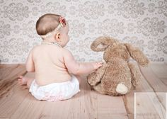6 month old girl with bunny.