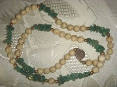 Jade Nuggets Angel Skin Coral Beads Necklace Sterling Silver Clasp Gold accents #StrandString