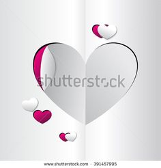 Abstract paper hearts. Love - stock vector