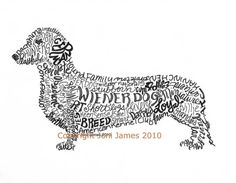 Dachshund Wiener Dog Art Calligram, Wiener Dog Typography Pen and Ink Illustration or Calligraphy drawing 8x10 Matted Print, $19.50