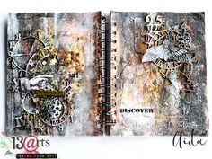 by Ayeeda: Discover art - art journal spread with 13 arts mediums #artartjournal #vintage #rusty #texture #art #13arts