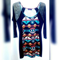 Women Plus Size XL Aztec Style Spandex Mini Dress This beautiful dress is plus size and fits sized 12 to 18 women size. 83% Polyester 14% Rayon 3% Spandex . This dress has long, black sheer sleeves. no brand Dresses Long Sleeve