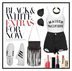 """Black & White To-Go"" by maria-bowles on Polyvore featuring Topshop, adidas, Quay, Vanessa Mooney and BCBGeneration"