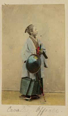 Samurai (cavalry officer) with muchi (whip), and jingasa (war hat). Felix Beato Studio, 1865.
