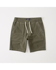 A&F Men's Pull-On Utility Shorts in Olive Green - Size XS