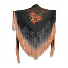 1920s Silk Lamé Floral Piano Shawl with Fringe
