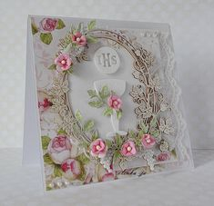 First Communion Cards, Diy And Crafts, Paper Crafts, Shabby Chic Cards, Heartfelt Creations, Flower Cards, Cute Cards, Diy Art, Special Day