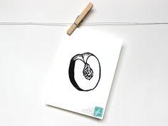 "Black ""PEACH"" Fruit Linocut Art Print 5x7""  Linoprint, linoleum, print, printmaking, stamp, ink"