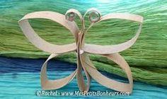 Papillon avec des rouleaux de papier toilette à mettre en peinture