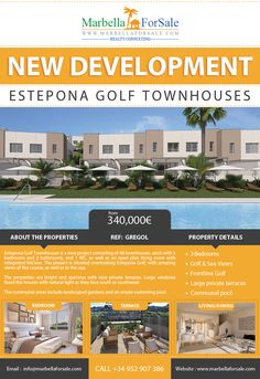 Estepona Golf Townhouses is a new project consisting of 48 townhouses, each with 3 bedrooms and 2 bathrooms, and 1 WC, as well as an open plan living room with integrated kitchen.