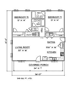 """HOUSE PLANS FOR 1245 Sq. Ft. 2 Bedroom 2 Bath House - $40.00. NICE SIZE TWO BEDROOM TWO BATH HOUSE. WIDE OPEN LIVING ROOM AND KITCHEN, EXTRA LARGE COUNTRY FRONT PORCH. PERFECT AS STARTER HOME, RENTAL HOUSE OR ON SITE IN-LAW HOME. SET OF PLANS INCLUDEFLOOR PLAN FULLY DIMENSIONED WITH PLUMBING/ELECTRICAL-SYMBOLS ONLYFOUNDATION PLAN 8"""" BLOCK WITH SLABALL ELEVATIONS FRONT, REAR, LEFT, RIGHTCABINET ELEVATIONWALL SECTION WITH WALL DETAIL (1/2"""" = 1' SCALE)BIRDSEYE ROOF DRAWING (NOT TO…"""