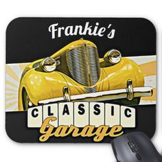 Personalized your name classic car garage burp cloth 2135 by personalized your name classic car garage mouse pad classic gifts gift ideas diy negle Images