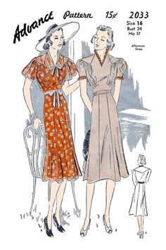 c51e381e81 Advance 2033 Women s 1930s Afternoon Dress Unprinted Sewing Pattern Bust 34