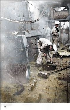 The Battle of Jutland - 31st of May 1916. Damage to the deck of HMS CHESTER sustained during the battle of Jutland. Several sailors can be seen on deck including one bending down to inspect the hole. Boy (1st Class) Jack Travers Cornwell was posthumously awarded the Victoria Cross for remaining at the forward gun on board the cruiser.(Colourised by Royston Leonard from the UK)