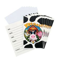 Farm Party Yeehaa Invitations.   8 invites and envelopes in a pack.