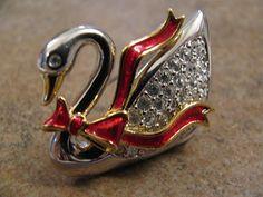 Swarovski Swan Rhinetone Brooch Pin Signed by ToadSuckTreasures, $38.00