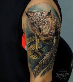 Owl tattoo by Levgen Tattoo Compass Tattoos Arm, Map Tattoos, Best Sleeve Tattoos, Sleeve Tattoos For Women, Travel Tattoos, Bird Tattoos, Trendy Tattoos, Tattoos For Guys, Maritime Tattoo