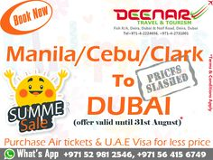 Deenar Travel and Tourism: Cebu, Manila, Clark to Dubai Cheap flight fares
