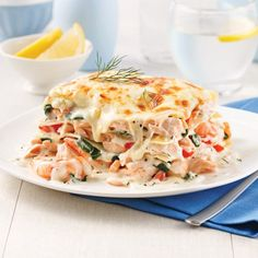 Salmon and shrimp lasagna – 5 ingredients 15 minutes – Foods and Drinks Healthy Cooking, Cooking Recipes, Healthy Recipes, Fish Recipes, Seafood Recipes, Easy Diner, Salmon And Shrimp, Pasta, Main Meals