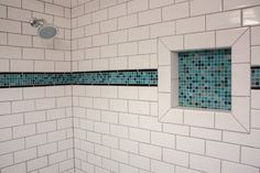 Shower niche A black and white herringbone mosaic tile beautifully accentuates the shower niche Shower niche tile Tile Shower Niche, White Subway Tile Bathroom, Subway Tile Showers, Tiled Showers, Marble Showers, Accent Tile Bathroom, Bathroom Accents, Bathroom Floor Tiles, Tub Tile
