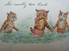 Original 1904 Louis Wain Postcard, It's Really Too Bad, Tuck Write Away Series 956 Undivided Back, Anthropomorphic Cats Splashing in the Sea Louis Wain Cats, Cat Cards, Vintage Cat, Cute Creatures, Cat Drawing, Cats And Kittens, Kitty Cats, Vintage Pictures, Crazy Cats