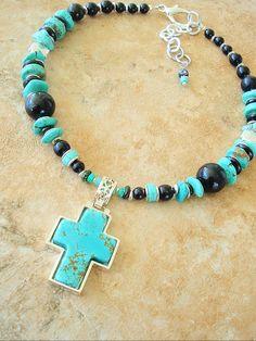 Southwest Necklace Turquoise Jewelry Cross Jewelry by BohoStyleMe