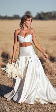 30 Bohemian Wedding Dress Ideas You Are Looking For ❤ bohemian wedding dress simple sweetheart strapless neckline one day #weddingforward #wedding #bride