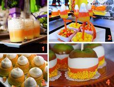 1) Candy Corn Pudding Parfaits 2) Candy Corn Lollipops 3) Candy Corn Cupcakes 4) Candy Corn Caramel Apples