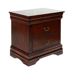 Furniture Of America Laurelle Dark Cherry Finish 2-drawer Nightstand