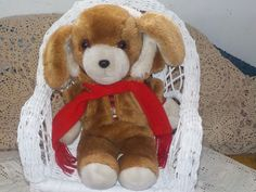 Sweet Puppy In Coat and Scarf From Avon Plush Stuffed Toy 1984  /New Listing / Not Included In Coupon Discount Sale by Daysgonebytreasures on Etsy