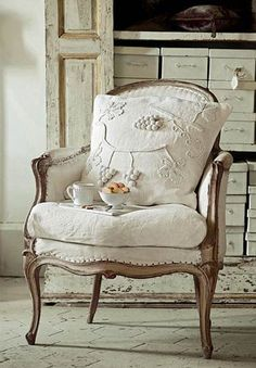 Love this chair and the combo of aged wood and unbleached linen