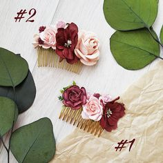 Blush pink burgundy flower comb Hair comb Boho Floral