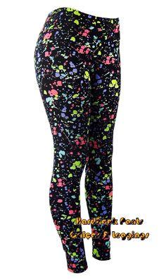 Calça Legging Suplex Cintura Alta Pingos de Tinta - Neon  #calça #legging…