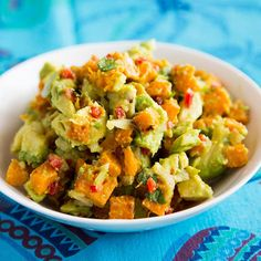 Put a fall spin on guacamole with sugar pumpkin and crunchy roasted pumpkin seeds. If you can't find sugar pumpkins (also called pie pumpkins), you can use butternut squash instead.