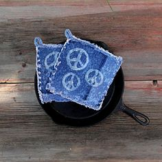 Bleached Peace Sign  - Upcycled Blue Jean Potholders