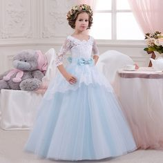 84.20$  Buy here - http://alixs1.worldwells.pw/go.php?t=32742566982 - 2016 New Flower Girl Dresses Three Quarter Patchwork O-Neck Ball Gown with Bow Girls Long Pageant Dresses Communion Dresses 84.20$
