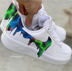 Custom Sneaker by Custom Painted Shoes, Custom Shoes, Custom Af1, Jordan Shoes Girls, Girls Shoes, Galaxy Shoes, Nike Shoes Air Force, White Nike Shoes, Aesthetic Shoes