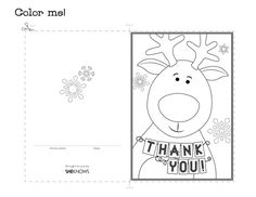 reindeer holiday thank you card free printable coloring pages