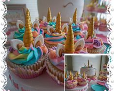Fondant UNICORN HORN 18 Edible Fondant decorations a total of 36 pieces. For cupcakes, cookies or Cake Pops - You choose the colors