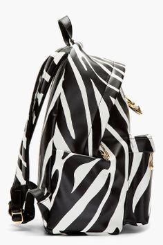 VERSUS Black ZEBRA PRINT safety pin JW Anderson edition BACKPACK
