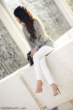White jeans and striped blouse