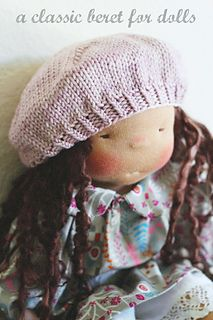 """This sweet and simple beret is knit with worsted weight yarn and is a quick knit suitable for beginners. It is designed to fit dolls with a 12"""" to 14"""" head circumference. I used MadelineTosh Vintage for the beret shown in the photos but you can use any worsted weight yarn. My lovely model is a Waldorf inspired doll made by North Coast Dolls."""