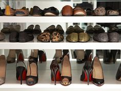 """Designer Lisa Adams of LA Closet Design suggests maximizing storage space by adjusting the spacing of the shelves. """"Most people have their shoe shelves spaced evenly. However, in order to maximize space, they should be adjusted and based on the height of your shoes,"""" she says."""
