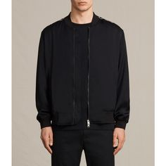 AllSaints Moy Bomber Jacket (1,695 ILS) ❤ liked on Polyvore featuring men's fashion, men's clothing, men's outerwear, men's jackets, black and mens short sleeve jacket