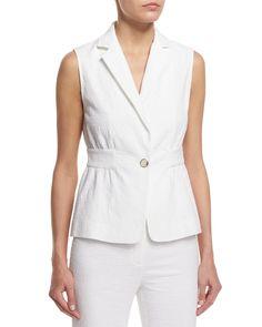 Gavyn Textured Vest, White, Women's, Size: 8 - Diane von Furstenberg