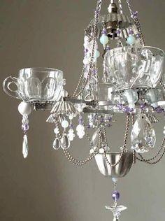 make a teacup chandelier